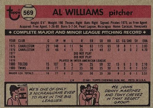 1981 Topps Al Williams