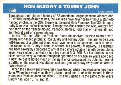 1982 Donruss Yankee Winners Tommy John Ron Guidry (back)