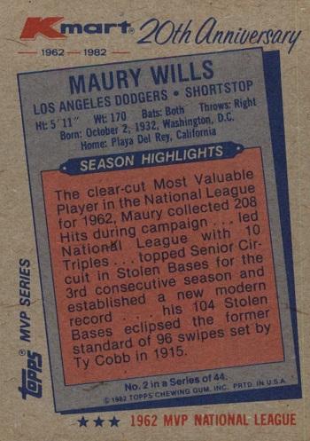 1982 KMart 1962 Topps Maury Wills (back)