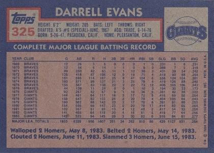 1984 Topps Darrell Evans (back)