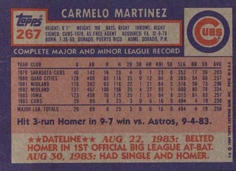 1984 topps carmelo martinez (back)