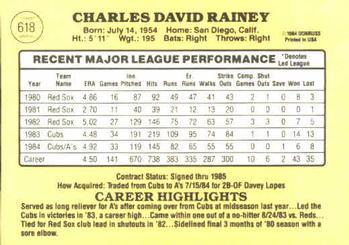 1985 Donruss Chuck Rainey (back)