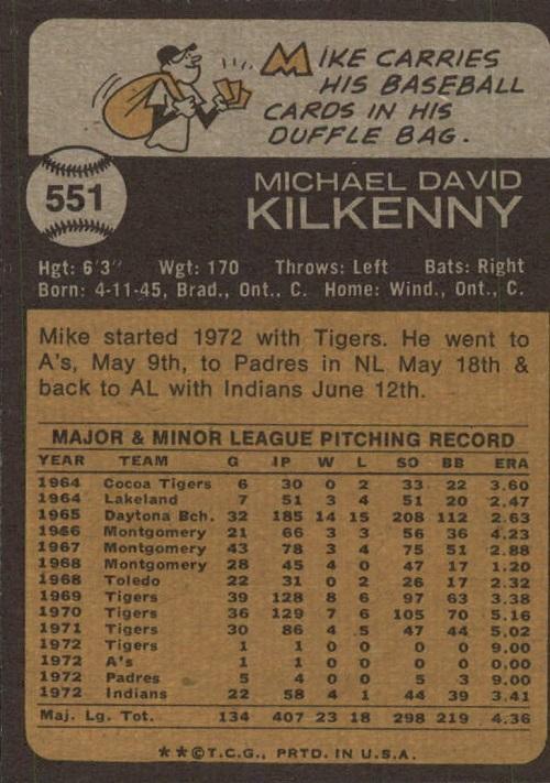 1973 topps mike kilkenny