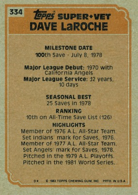 1983 Topps Super Veteran Dave LaRoche (back)