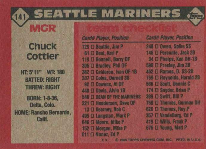 1986 Topps Chuck  Cottier (back)