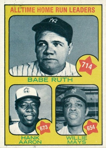 1973 Topps All Time HR Leaders (Aaron, Mays, Ruth)