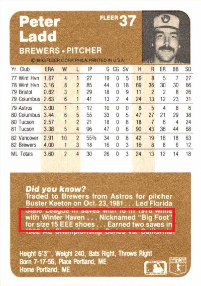 1983 Fleer Pete Ladd (back)