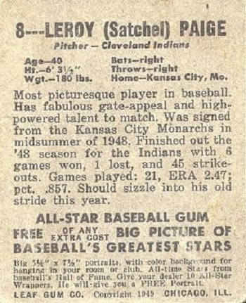 1948 Leaf Satchel Paige Rookie Card back (1949)
