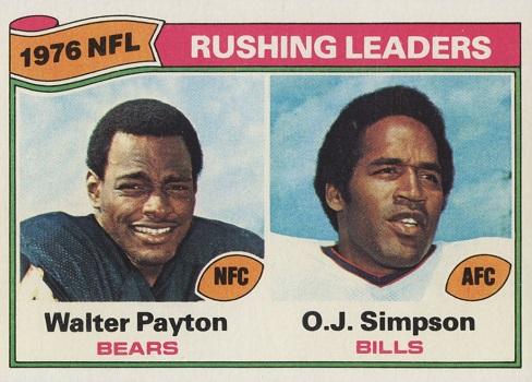 1977 Topps Rushing Leaders (Payton, Simpson)