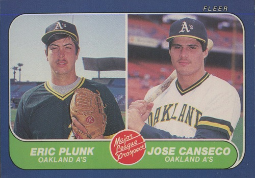 1986 Fleer Jose Canseco Eric Plunk Rookie Card