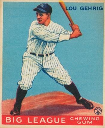 1933 Goudey Lou Gehrig rooki card
