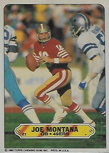 1983 Topps Sticker Insert Joe Montana
