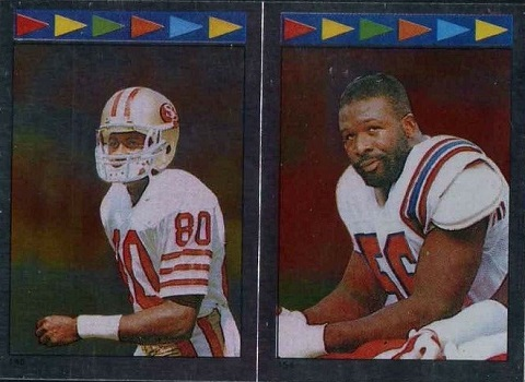 1987 Topps Stickers Rice #140 and Tippett #154