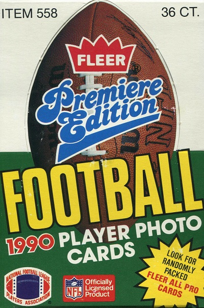 1990 Fleer football cards unopened wax pack box
