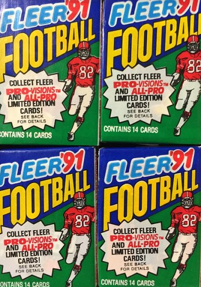 1991 Fleer football cards unopened wax packs box