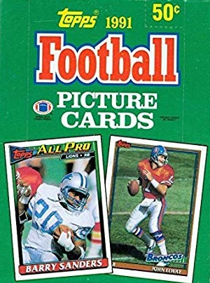 1991 Topps Football Cards unopened wax packs box