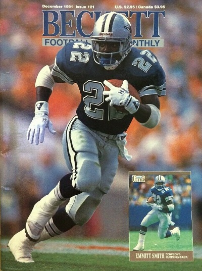 December 1991 emmitt smith beckett football card monthly