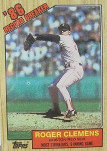 1987 Topps Roger Clemens Record Breaker