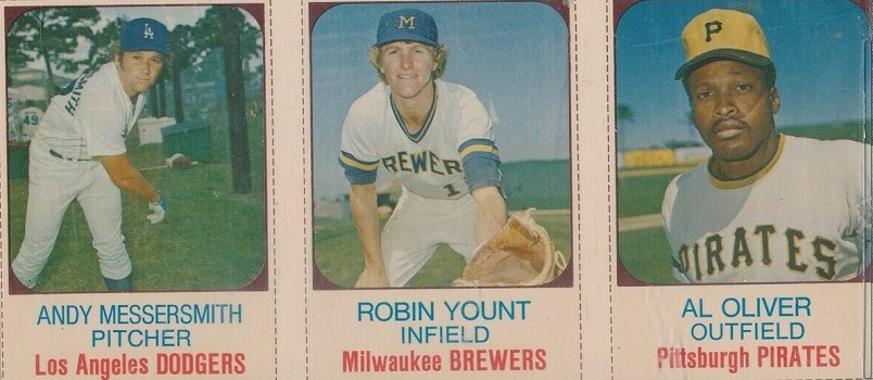 1975 Hostess Panel Andy Messersmith, Al Oliver, Robin Yount