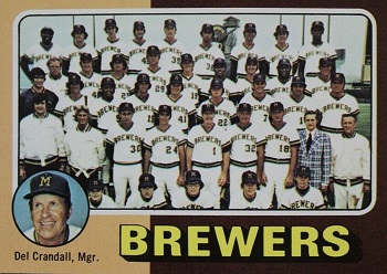 1975 Topps Brewers Team Card Del Crandall, Mgr., Robin Yount