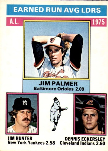 1976 O-Pee-Chee A.L. ERA Leaders Jim Palmer, Hunter