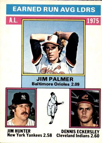1976 O-Pee-Chee A.L. ERA Leaders Jim Palmer, Hunter