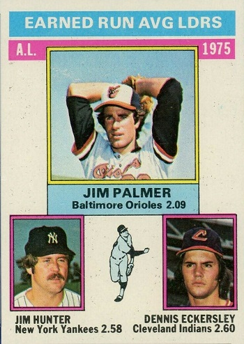 1976 Topps A.L. ERA Leaders Jim Palmer, Catfish Hunter