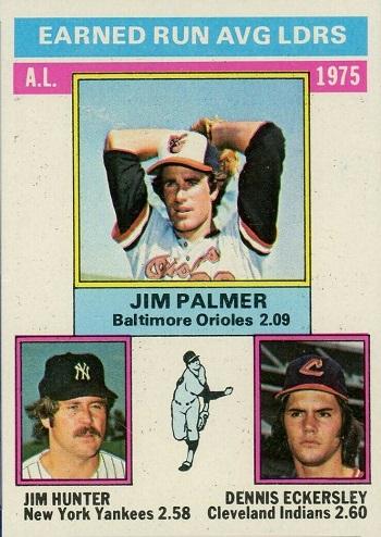 1976 Topps A.L. ERA Leaders Jim Palmer, Catfish Hunter