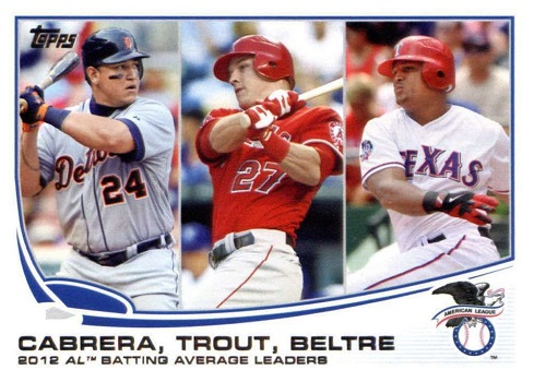2013 Topps Batting Average Leaders Cabrera, Beltre, Trout