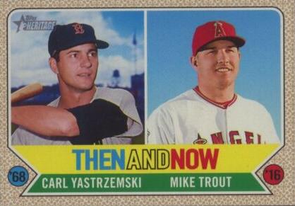 2017 Topps Heritage Carl Yastrzemski Mike Trout