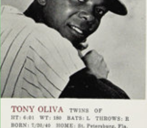 1964 Topps Rookie All-Star Banquet Tony Oliva Drove Home the Point