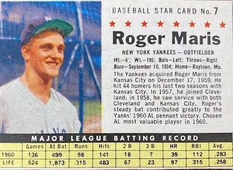 1961 Post Roger Maris (#7)