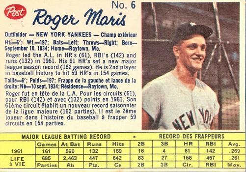 1962 Post Canadian Roger Maris (#6)
