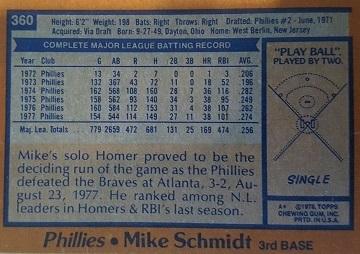 1978 Topps Mike Schmidt (#360) back