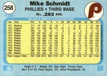 1982 Fleer Mike Schmidt (#258) back