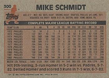 1983 Topps Mike Schmidt (#300) back