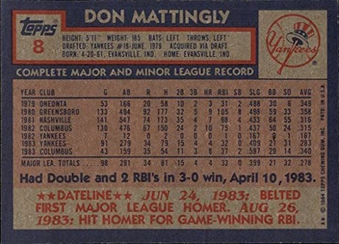 1984 Topps Don Mattingly (back)