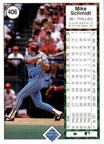 1989 Upper Deck Mike Schmidt (#406) back