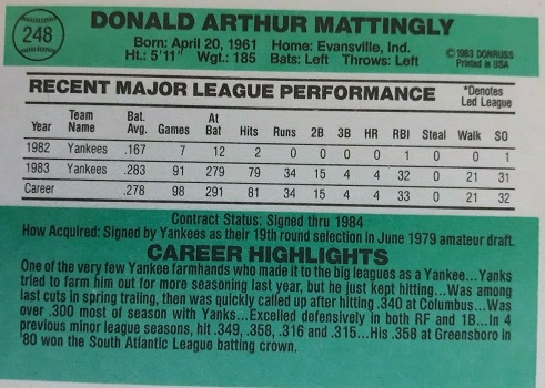 1984 Donruss Don Mattingly (back)