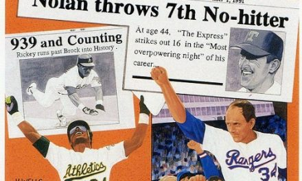"""1991 Upper Deck Rickey Henderson and Nolan Ryan a """"Card to Remember"""""""