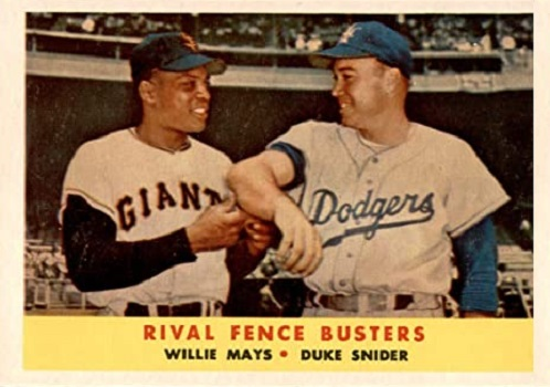 1958 Topps Rival Fence Busters - Willie Mays and Duke Snider