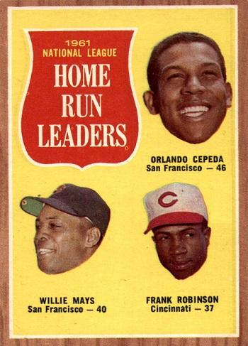 1962 Topps NL Home Run Leaders - Orlando Cepeda, Willie Mays, Frank Robinson
