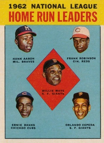 1963 Topps NL Home Runs Leaders - Hank Aaron, Ernie Banks, Orlando Cepeda, Willie Mays, Frank Robinson