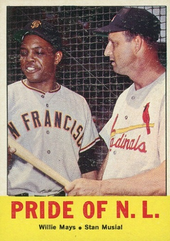 1963 Topps Pride of NL - Willie Mays and Stan Musial