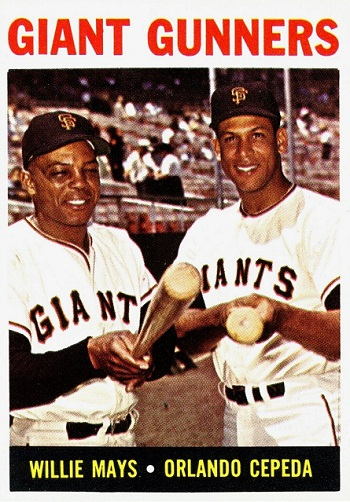 1964 Topps Giant Gunners - Willie Mays and Orlando Cepeda