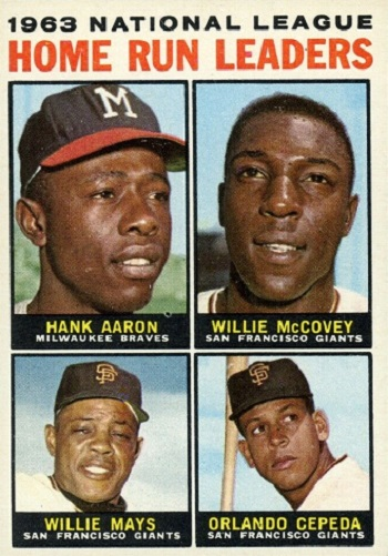 1964 Topps NL Home Run Leaders - Hank Aaron, Orlando Cepeda, Willie Mays, Willie McCovey