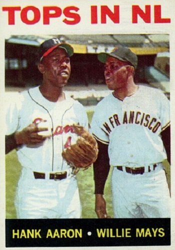 1964 Topps Tops in NL - Hank Aaron and Willie Mays