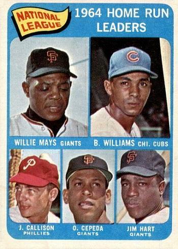 1965 Topps NL Home Run Leaders - Willie Mays, Billy Williams, Johnny Callison, Orlando Cepeda, Jim Hart