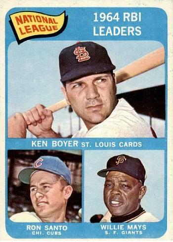 1965 Topps NL RBI Leaders - Ken Boyer, Ron Santo, Willie Mays