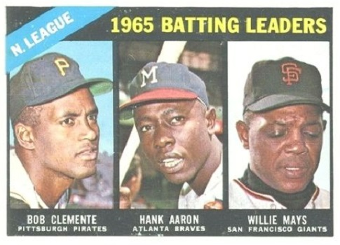 1966 Topps NL Batting Leaders - Bob Clemente, Hank Aaron, Willie Mays